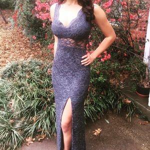 Dresses - Steel Blue lace gown